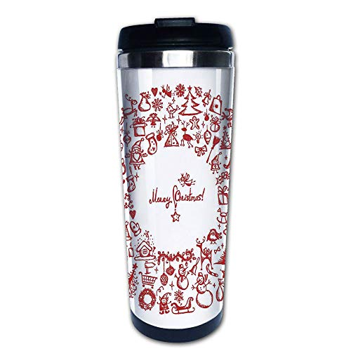 - Stainless Steel Insulated Coffee Travel Mug,Wreath with Several Noel Yule Icons Ribbons Candle,Spill Proof Flip Lid Insulated Coffee cup Keeps Hot or Cold 13.6oz(400 ml) Customizable printing