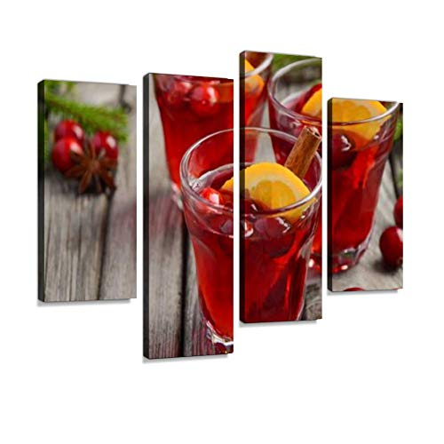 - Cranberry Drink on Wooden Background with fir Branches and Fresh Berries Canvas Wall Art Hanging Paintings Modern Artwork Abstract Picture Prints Home Decoration Gift Unique Designed Framed 4 Panel
