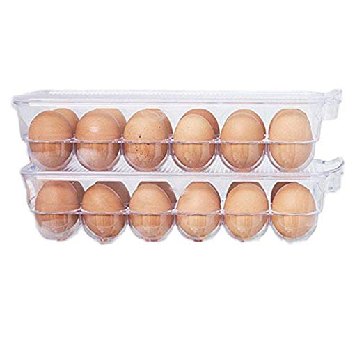 MineDecor 24 Egg Holder Refrigerator Storage Box Container For Eggs Tray With Lid Kitchen Utensil Organizer 2 Pack ()