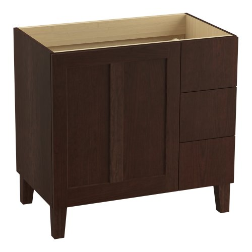 KOHLER K-99533-LGR-1WG Poplin 36-Inch Vanity with Furniture Legs, 1 Door and 3 Drawers on Right, Cherry - Wood Cherry Expressions Solid