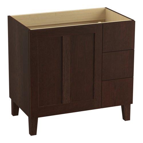KOHLER K-99533-LGR-1WG Poplin 36-Inch Vanity with Furniture Legs, 1 Door and 3 Drawers on Right, Cherry Tweed