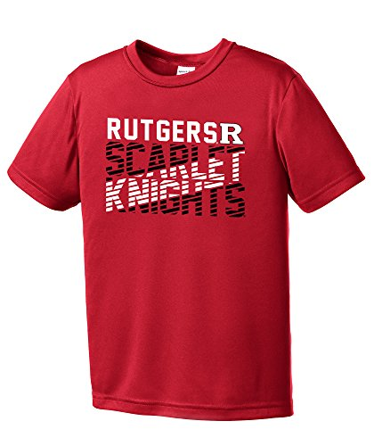 NCAA Rutgers Scarlet Knights Youth Boys Diagonal Short sleeve Polyester Competitor T-Shirt, Youth Medium,Red