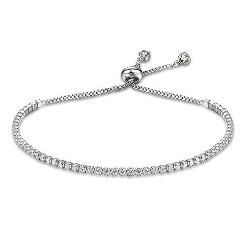 Party Jewelry Adjustable Bracelet For Women 2mm Cubic Zirconia Gold Color Blacelets & Bangles Gift For Her (JewelOra BA101437) Rhodium Plated