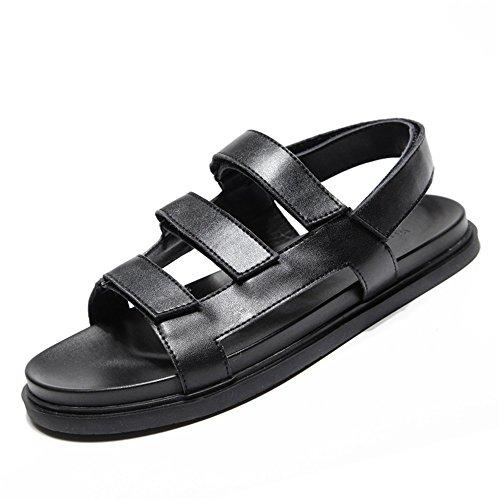 Sandals MAZHONG Men Summer Casual PU Cool Slipper Korean Outdoor Sports Non-slip Open Toe Tide Men's Shoes (Color : Black-EU41/UK7.5-8/CN42) Black-eu40/Uk7/Cn41