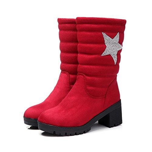 AllhqFashion Mujeres Tacón Medio Tachonado Puntera Redonda Sin cordones Botas Rojo