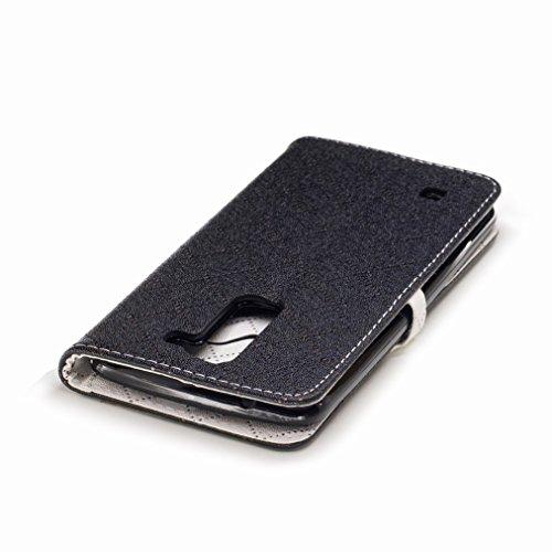 Yiizy LG K7 / X210 / X210DS / MS330 Custodia Cover, Amare Design Sottile Flip Portafoglio PU Pelle Cuoio Copertura Shell Case Slot Schede Cavalletto Stile Libro Bumper Protettivo Borsa (Nero)