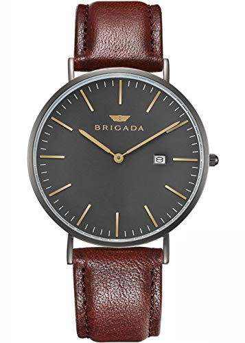 Swiss Brand Nice Fashion Minimalist Men's Dress Watch Waterproof, Rose Gold Case Business Casual Men's Wrist Watch (5- Black Dial)