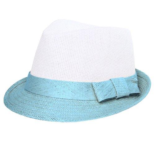 CASPAR Damen Trilby / Fedora Hut / Strohhut mit Schleife - viele Farben - HT003, Farbe:hellblau / weiß