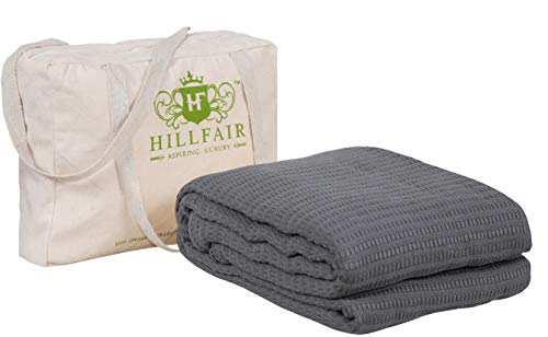 HILLFAIR 100% Certified Organic Cotton Blankets- Queen Size Bed Blankets- All Season Cotton Blanket- Grey Queen Size Cotton Blanket- Soft Multipurpose Queen Blankets - Organic Cotton Bed Blankets