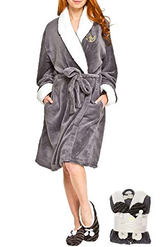 Adrienne Vittadini Women's Soft Plush Comfy Sherpa Lined House Bath Robe & Sherpa Printed Slippers Set,Robe-One Size/Slippers-L(9)/XL(11),Charcoal With Grey Zebra - Embroidered Womens Robe