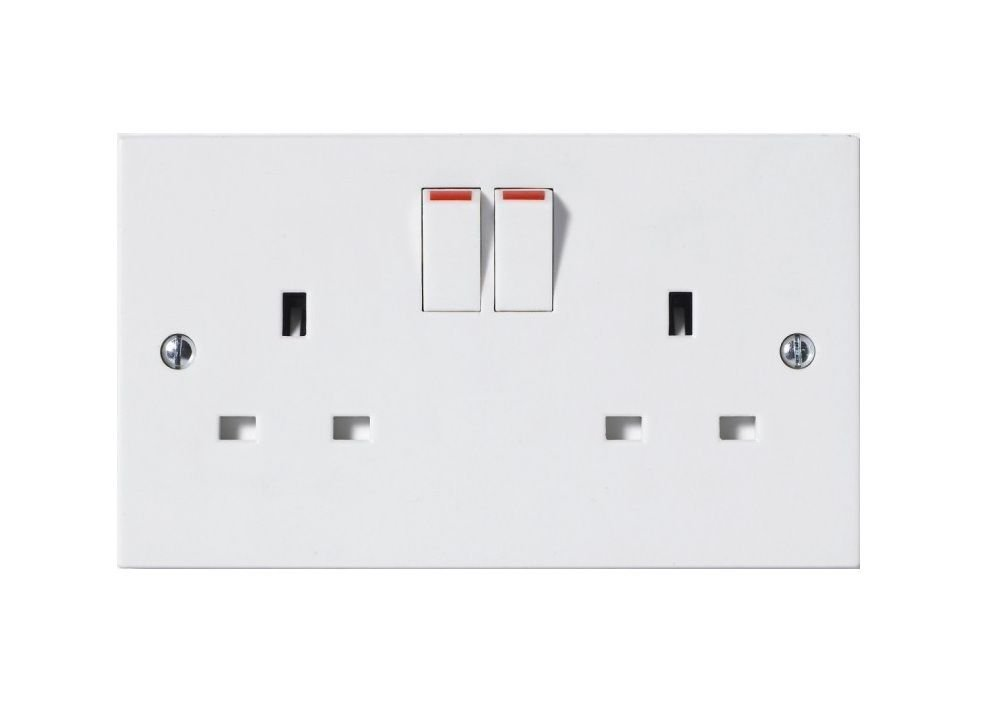 Invero® 2x Pack of 2 Gang 13A Double Pole Twin Doubled Plug Electric Wall Socket Switched with Square Edge & Screw Fixings Included Invero® Double Socket