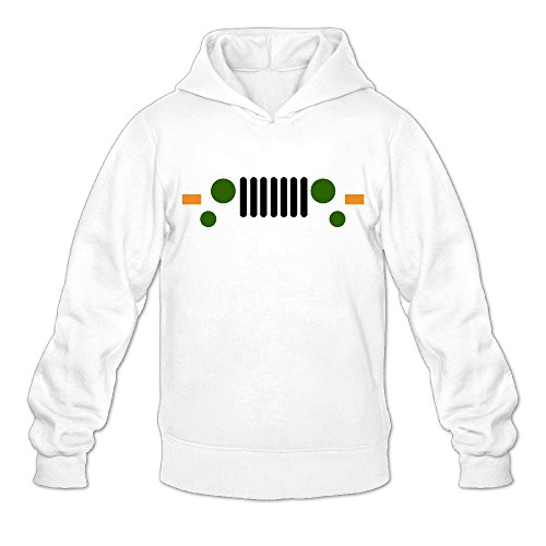 Cute Jeep Face Classic Men's Hooded Hoodies White S