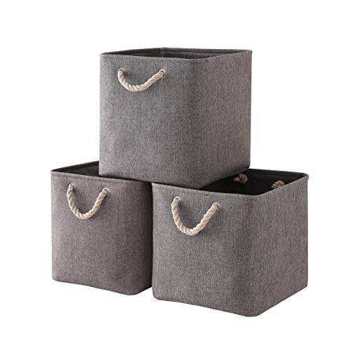TheWarmHome Foldable Storage Basket with Strong Cotton Rope Handle, Collapsible Storage Bins Set Works As Baby Storage, Toy Storage, Nursery Baskets (Grey, 3Pack-131313)