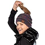 C.C Exclusives Messy Bun Ponytail Beanie Winter Hat for Women (Black Multi)