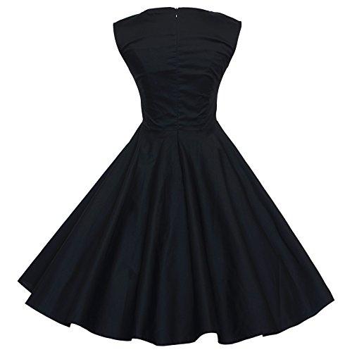 Maggie Tang - Vestido para mujer, diseño años 50 y 60 negro