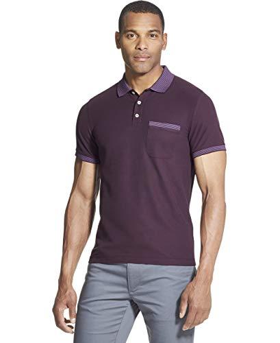 Van Heusen Men's Slim Fit Never Tuck Short Sleeve Solid Polo Shirt, Purple Plum Noir, Large