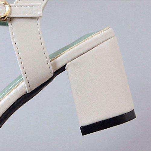 à Women's sur Open Couverts Chunky Blanc Bande Talons Toe Blocs Sandales Sangle Glisser Unique Cheville Sandales qHCqrw7BTx
