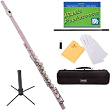 Mendini MFE-PK+SD+PB Pink Lacquer Closed Hole C Flute with 1 Year Warranty, Case, Stand, Cleaning Rod and Cloth, Joint Grease, and Gloves