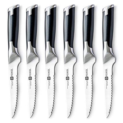 Steak Knives Knife Set of 6 or 12 - Smooth Serrated Rust...