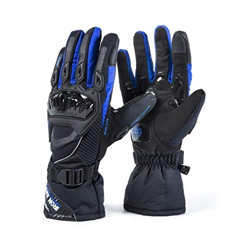 Mens Motorcycle Gloves Winter Warm Full Finger Glove Touch Screen Waterproof Windproof for Adults Teens and Women Blue XX-Large