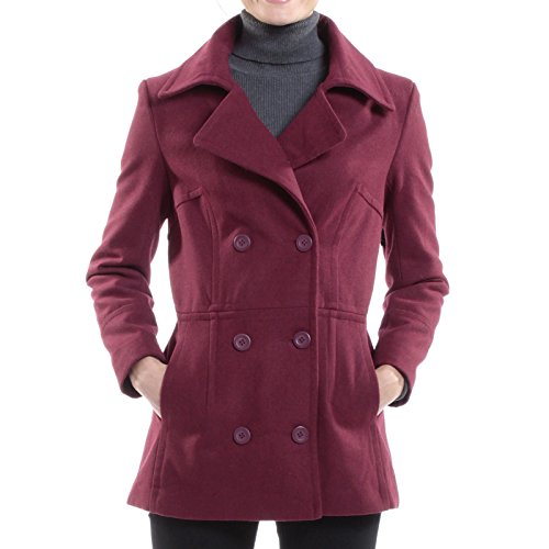 alpine swiss Emma Womens Burgundy Wool 3/4 Length Double Breasted Peacoat XL