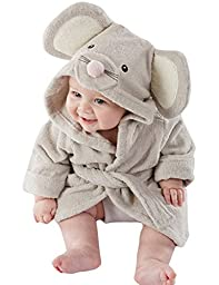 FAYALE Baby Flannel Cartoon Animal Hooded Towel Bath Robe (6-12Months, Mouse)