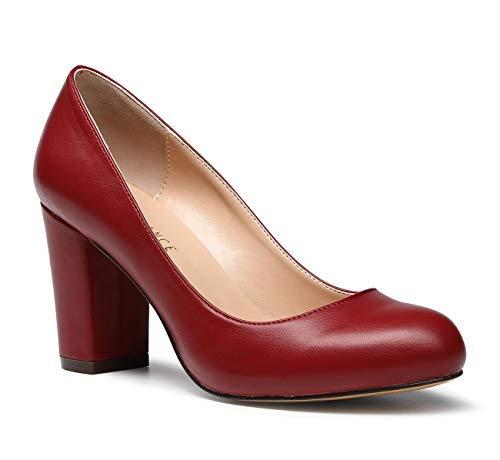 - SUNETEDANCE Women's Block Heel Pumps Round Toe Heels Sexy Elegant Slip-on Comfort Classic High Heels Office Business Shoes Pu Wine Pump 7 M US