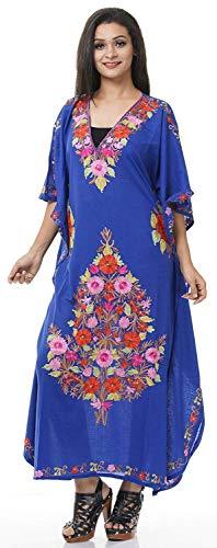 Odishabazaar Long Cotton Kashmiri Kaftan with Ari Hand-Embroidered Flowers (B075FRN51N)