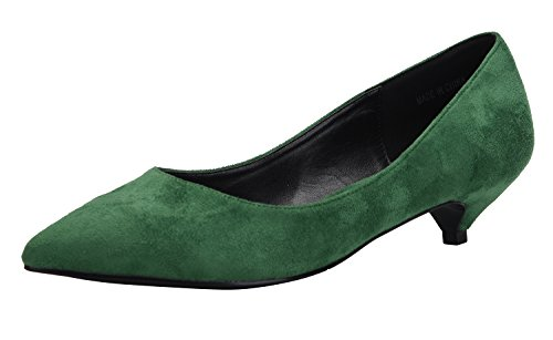 Womens Dress Shoes Classic Pump (CAMSSOO Women's Classic Slip On Pointed Toe Low Kitten Heel Wedding Dress Pumps Shoes Green Suede 10 M US)