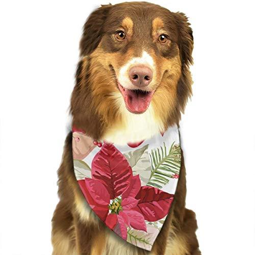 ROCKSKY Dog Bandanas, Poinsettia Flowers Seamless Background Wedding Dog Bandana Cute Headkerchief, Triangle Head Scarves Hankie Great Gift for Kids Baby Girl Boy Dog - Washable