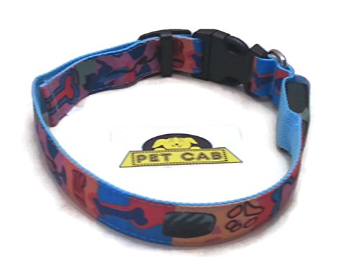 LED Dog Collars Paw-Casso Pattern Print Three Modes Slow Flashing Fast Steady Lights Pet Safety Night Walking Flexible Medium (Medium) (Cart Print Battery)