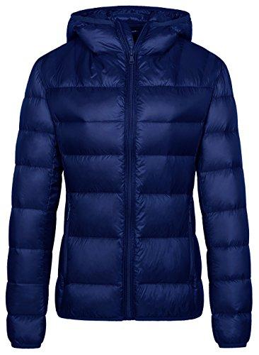 Wantdo Women's Hooded Packable Lightweight Down Jacket Winter Outwear Navy XL Down Filled Winter Jackets