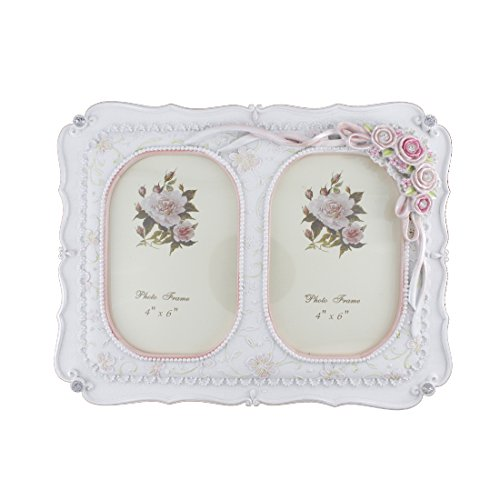 2 Openings 4x6-inch White Crystal Victorian Polyresin Flower Family Picture Photo Frame for Tabletop (Double Openings 4X6, Style 8)