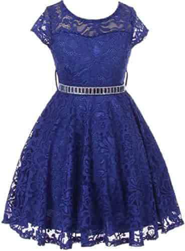 0627fcbcf934 Little Girls Illusion Floral Lace Top Stone Belt Party Holiday Flower Girl  Dress