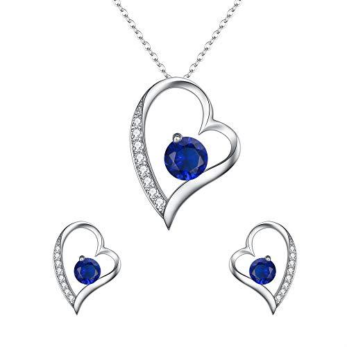 (EleQueen Women's 925 Sterling Silver CZ Heart-Shape Lovely Heart Pendant Necklace Stud Earrings Jewerly Sets Sapphire)
