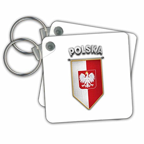 Carsten Reisinger - Illustrations - Pennant with flag of Poland Polish Banner Coat of Arms - Key Chains - set of 2 Key Chains (kc_243747_1) ()