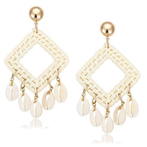 (BSJELL Shell Rattan Earrings Handmade Straw Cowrie Shell Wicker Hoop Earrings Boho Statement Woven Braid Chandelier Dangle Earrings for Women (Square))