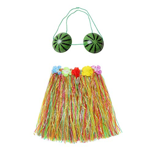 1 Set Hula Skirt Grass Dress with Watermelon Bra Luau Hawaiian Floral Fancy Party Dancer Dress Costume Outfit for Children Kids - 80CM Skirt, Colorful for $<!--$7.99-->