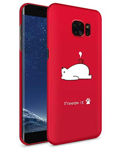 GVIEWIN Compatible Galaxy S7 Edge Case,Ultra Slim & Anti-Scratch Hard Plastic Matte with Cute Pattern Cover Case for Samsung S7 Edge - Bear/Red