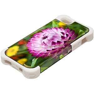 Flores 10071, Flor Rosa, Design Blanco Caso Carcasa Funda de Silicona Hybrid Armor Protección Case Cover con Diseño Colorido y Protector De Pantalla para Apple iPhone 5 5S.