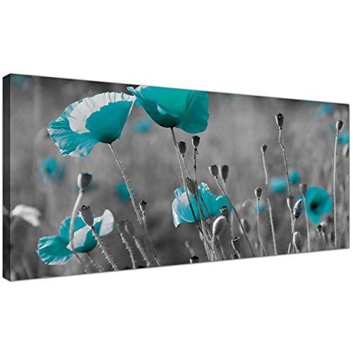 Modernas impresiones en lienzo de Amapolas en blanco y negro –Arte grande para pared de flores azul turquesa–1139–Wallfillers