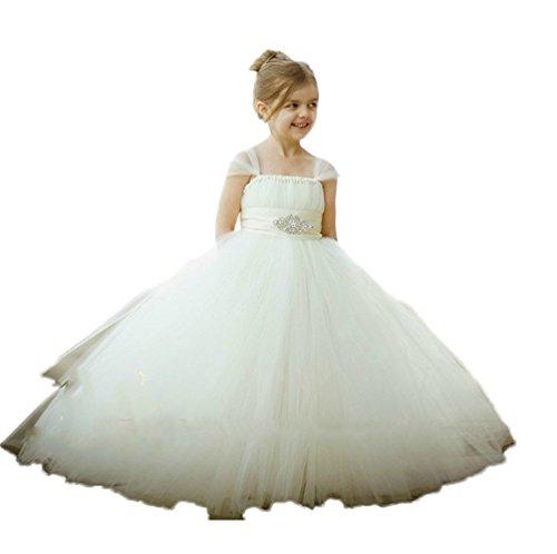 Ballkleid Kleid Hochzeit Weiß Tüll Blumenmädchen Festzug CoCogirls Mädchen Cinderella prom wxYEqnqzXC