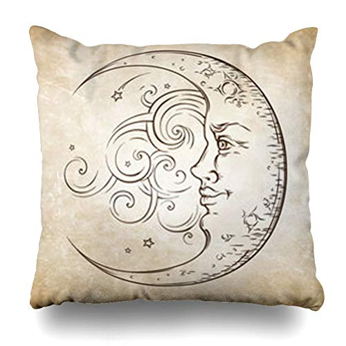 (AileenREE Throw Pillow Covers Mystic Aged Antique Crescent Moon Boho Chic Tattoo Face Vintage Alchemy Astrology Astronomy Beam Celestial Pillowcase Square Size 18 x 18 Inches Home Decor Cushion Cases )