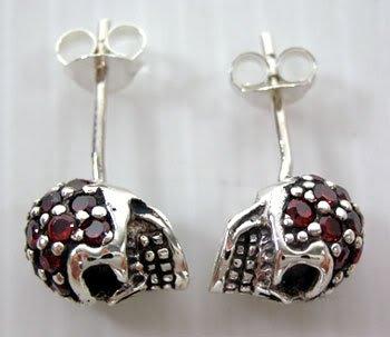 - Garnet Skull Solid .925 Sterling Silver Stud Earring