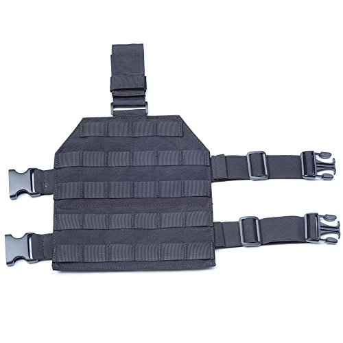 MOLLE Tactical Drop Leg Platform for Paintball Airsoft Pistol Holster Platform with Quick Release Buckle (Black)