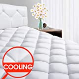 """SOPAT King Mattress Pad - CoolingPillow Top Plush Mattress Topper Reversible Quilted Fitted Mattress Cover with 8-21""""Deep Pocket for Summer"""