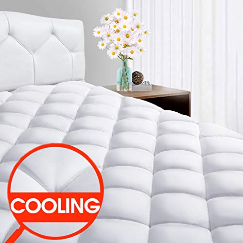 """SOPAT Full Mattress Pad - CoolingPillow Top Plush Mattress Topper Reversible Quilted Fitted Mattress Cover with 8-21""""Deep Pocket for Summer"""