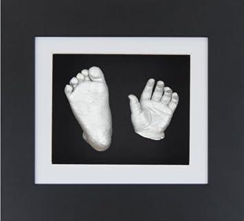 Anika-Baby Kit de moulage de pieds et de mains de bébé avec cadre boîte 3D à passe-partout et peinture Noir-blanc-