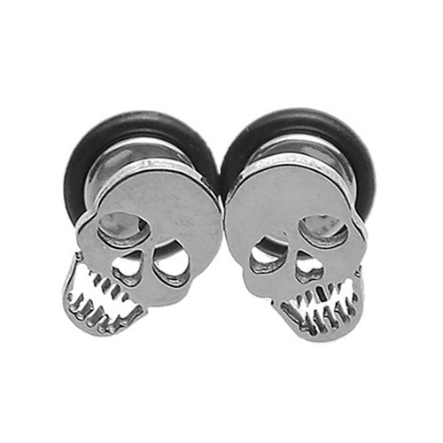 (Move on 1Pair Unisex Punk Gothic Stainless Steel Barbell Skull Ear Studs Earring Fashion Jewelry)