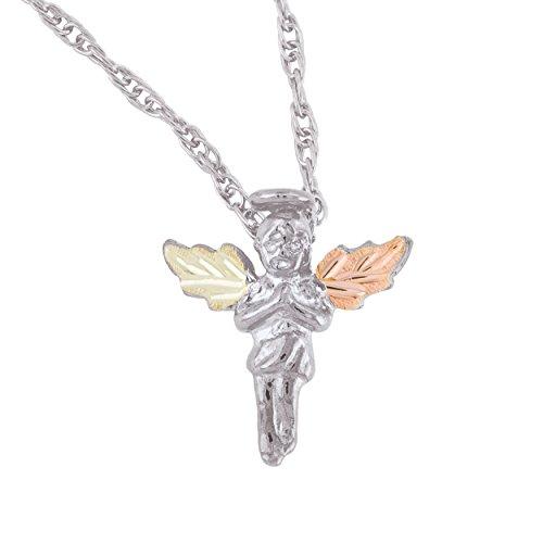 Black Hills Gold on Silver Angel - Gold Black Mom Necklace Hills